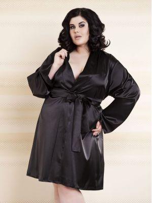 На картинке изображено - Женский короткий атласный халат Dkaren 90 Plus 5XL | фото 2