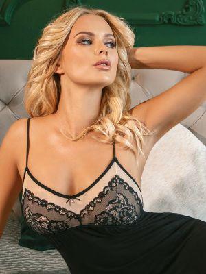 На картинке изображено - Женская короткая ночная сорочка с кружевным верхом Donna Margo | фото 3