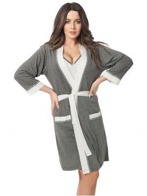 На картинке изображено - Женский легкий халат с отделкой в горошек Dorota 308 (+ ночная сорочка) | фото 4