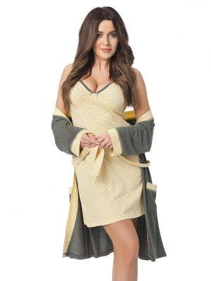 На картинке изображено - Женский легкий халат с отделкой в горошек Dorota 308 (+ ночная сорочка) | фото 2
