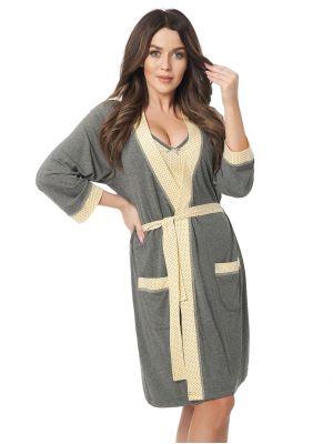 На картинке изображено - Женский легкий халат с отделкой в горошек Dorota 308 (+ ночная сорочка) | фото 3