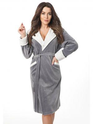На картинке изображено - Женский велюровый халат с шалевым воротником Dorota FR-303 | фото 2