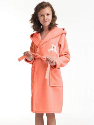 На картинке изображено - Детский теплый халат с капюшоном Dorota FR-043 116-128 Roz | фото 4