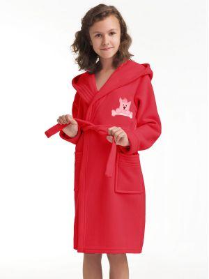 На картинке изображено - Детский теплый халат с капюшоном Dorota FR-043 116-128 Roz | фото 3