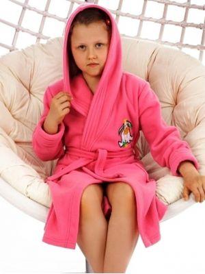 На картинке изображено - Детский теплый халат с капюшоном Dorota FR-043 116-128 Roz | фото 2