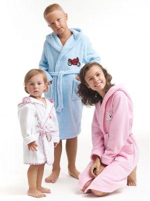 На картинке изображено - Детский теплый халат с капюшоном Dorota FR-043 116-128 Roz | фото 5