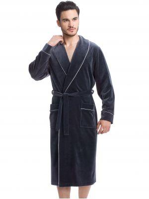 На картинке изображено - Мужской длинный велюровый халат Dorota FR-063 | фото 2