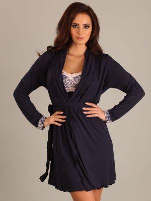 На картинке изображено - Женский легкий халат из мягкой вискозы для беременных Lupoline 1677 MK | фото 2