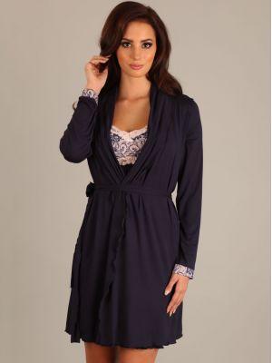 На картинке изображено - Женский легкий халат из мягкой вискозы для беременных Lupoline 1677 MK | фото 3