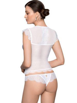 На картинке изображено - Элегантная женская футболка с нежным кружевом Roza Erii | фото 3